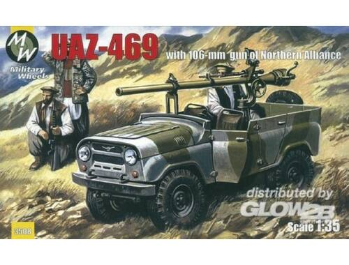 Military Wheels UAZ-469 North alliance Afganistan, 106 mm gun 1:35 (3508)