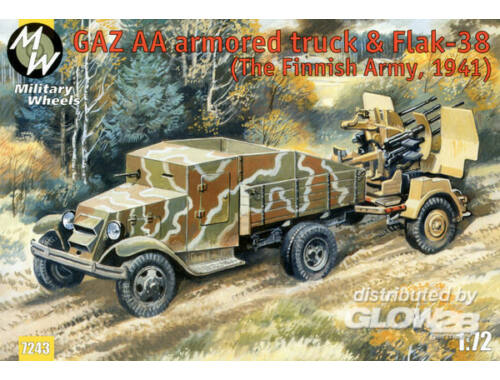 Military Wheels GAZ AA armored car truck   Flak-38, Fin 1:72 (7243)