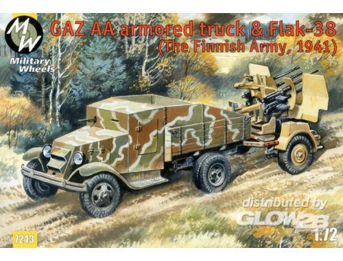Military Wheels GAZ AA armored car truck   Flak-38, Fin 1:72 (7243)