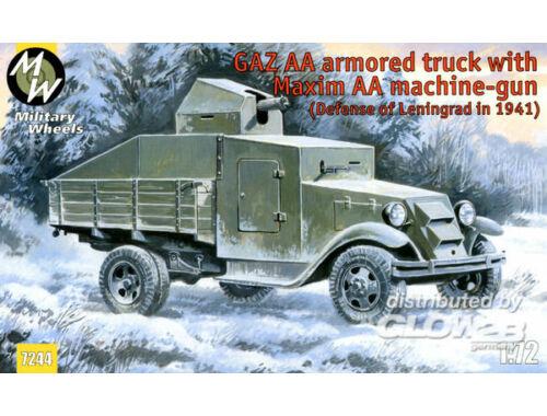 Military Wheels GAZ AA armored truck with Maxim AA gun 1:72 (7244)