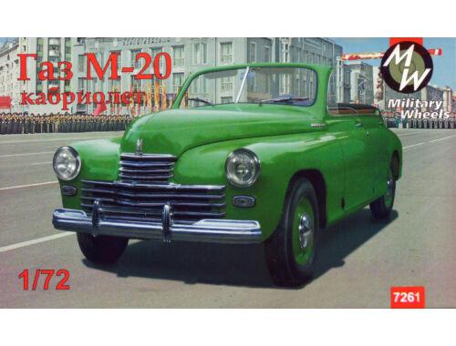 Military Wheels GAZ-M20 Pobeda cabriolet, Soviet car 1:72 (7261)