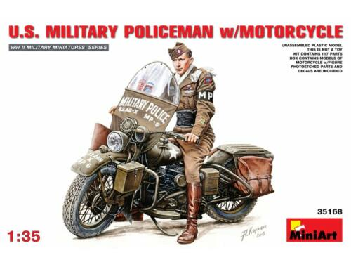 Miniart U.S. Military Policeman w/Motorcycle 1:35 (35168)
