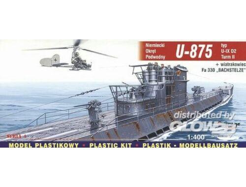 Mirage Hobby Deutsches U-Boot U 875 Typ IX D2 Turm II und FA 330 Bachstelze 1:400 (40043)