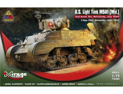 Mirage Hobby U.S.Light Tank M5A1 (Mid) 2nd Armd.Div.N 1:72 (726086)