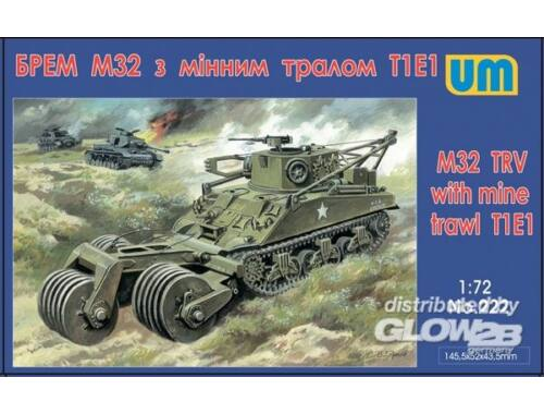 Unimodel M32 tank recovery vehicle with mine traw 1:72 (222)