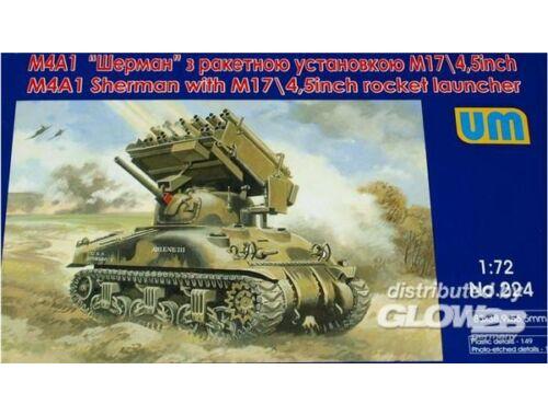 Unimodel Tank M4A1 w. M17/4,5inch rocket launcher 1:72 (224)