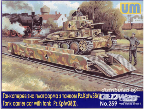 Unimodel Tank carrier car with Pz.Kpfw. 38(t) 1:72 (259)