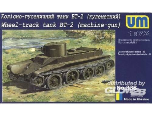 Unimodel Wheel-Track Tank BT-2 with machine-Gun 1:72 (338)