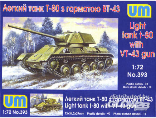 Unimodel T-80 Soviet light tank with gun VT-43 1:72 (393)