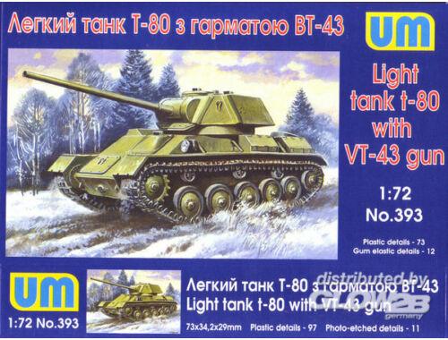 Unimodel T-80 Soviet light tank with gun VT-43 1:72 (393)