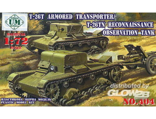 Unimodel T-26T Armored transporter/T-26TN Reconnaissance observation tank 1:72 (404)