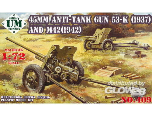 Unimodel 45mm Antitank guns 53-K (1937) and M42 (1942) 1:72 (409)