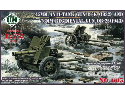Unimodel 45mm Antitank gun 19-K (1932) and 76mm Regimental gun OB-25 (1943) 1:72 (605)