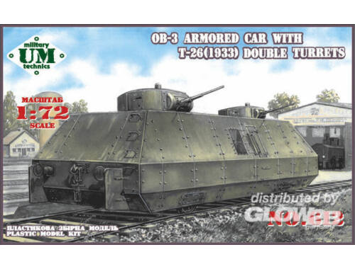 Unimodel OB-3 armored railway car with two T-26 1:72 (612)