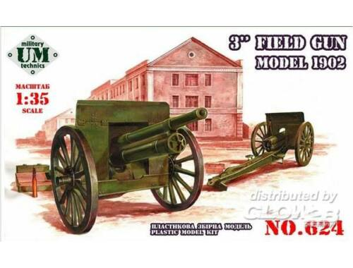 Unimodel 3inch field gun, model 1902 1:72 (624)