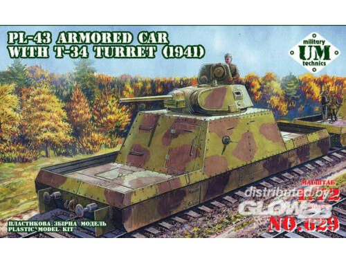 Unimodel PL-43 armored car with T-34 turret, 1941 1:72 (629)