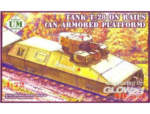 Unimodel T-28 Tank on rails (armored platform) 1:72 (641)