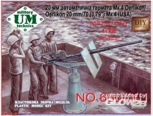 """Unimodel Oerlikon 20 mm/70 (0,79"""")Mk4 (USA)gun 1:72 (650)"""