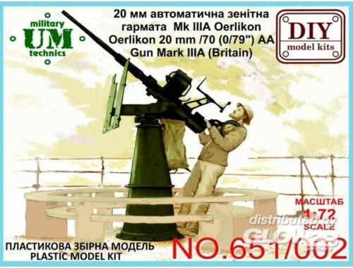 "Unimodel Oerlikon 20mm/70 (0,79"")AA gun mark IIIA 1:72 (651-001)"