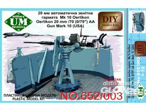Unimodel Oerlikon 22mm/70 (0,79'') AA gun mark 10 1:72 (652-002)