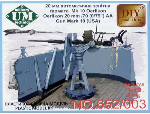 "Unimodel Oerlikon 20mm/70 (0,79"")AA gun mark 24(U 1:72 (653-003)"