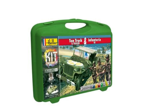 Heller Model Kit US 1/4 Ton Truck Trailer Infanterie US 1:72 (60997)