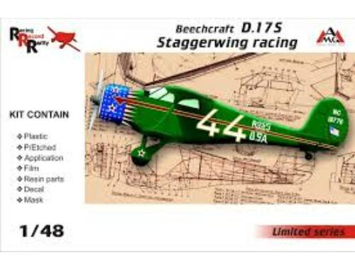 AMG Beechcraft D.17S Staggerwing racing 1:48 (AMG48503)