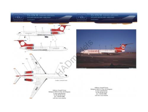 HADmodels Tu-154 M Samara Airlines matrica 1:144 (144019)