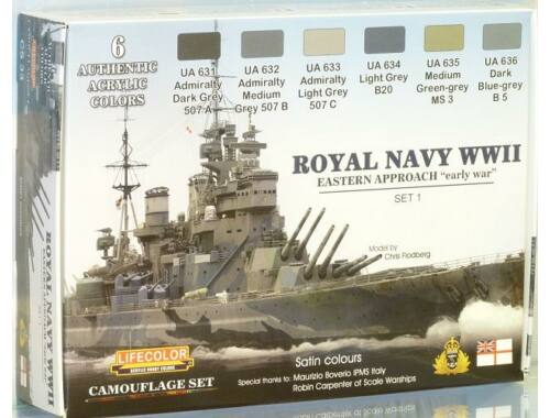 Life Color Royal Navy WWII Eastern Approach early war Set 1 Camouflage Set (CS33)