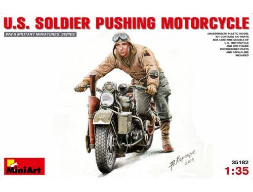 Miniart U.S.Soldier Pushing Motorcycl? 1:35 (35182)
