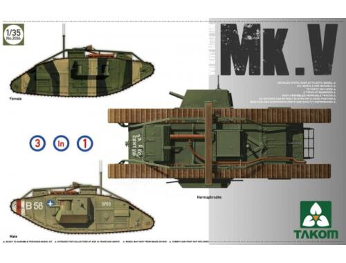 Takom WWI Heavy Battle Tank MarkV 3 in 1 1:35 (2034)
