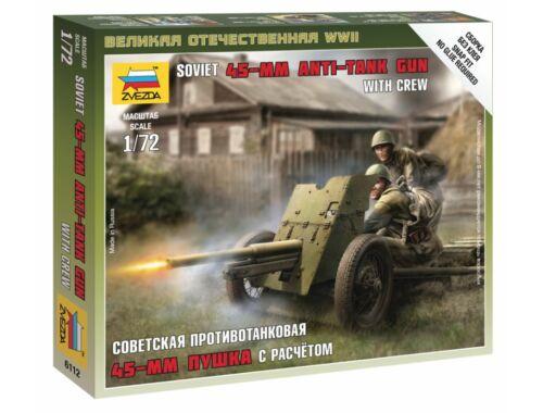 Zvezda Soviet 45 mm Anti-Tank Gun with Crew 1:72 (6112)