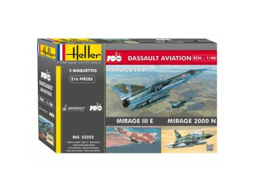 Heller Coffret 100 ANS Dassault Aviation(3 mode (MirageIVP,MirageIII,Mirage 2000D 1:48 (52322)