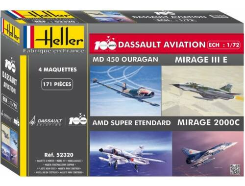 Heller Coffret 100 ANS Dassault Aviation(4model MirageIII 2000 S-Etendard Ouragan 1:72 (52320)