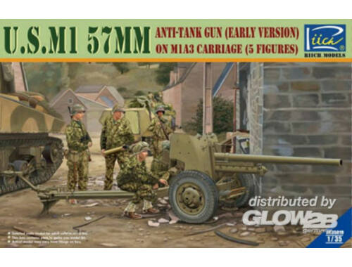 Riich U.S.M1 57mm anti-tank Gun early version on M1A3 Carriage w/Crews (5 figu 1:35 (RV35019)