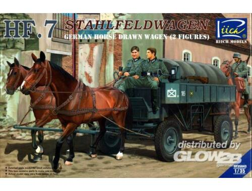 Riich German Hf.7 Horse drawn Steel field wage w/2Horses  2 Figures 1:35 (RV35043)