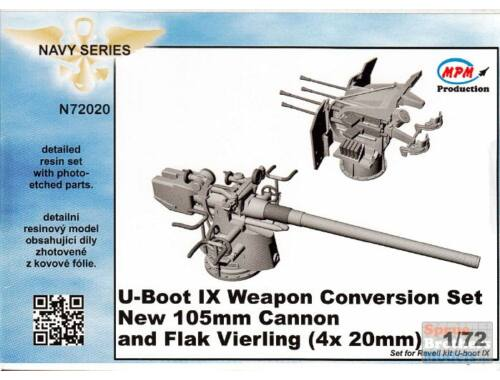 CMK U-Boot IX Weapon Conversion set new 105mm cannon and Flak Vierling for REV 1:72 (N72020)