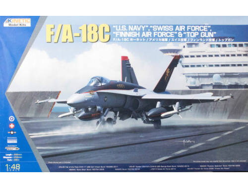 Kinetic F/A-18C US Navy,Swiss AirForce,Finnish AirForce, Topgun 1:48 (48031)