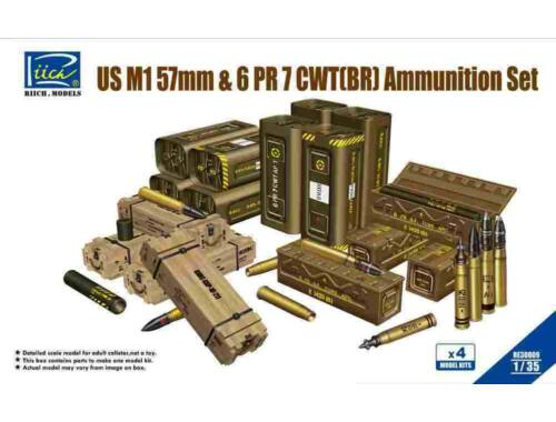 Riich US M1 57mm 6PR 7cwt(BR)Ammunition Set(Mo (Model Kits x4) 1:35 (RE30009)