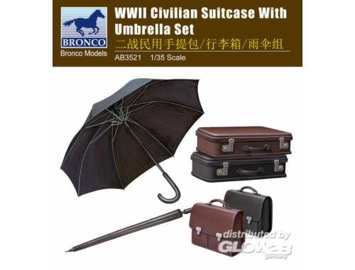 Bronco WWII Civilian Suitcase with Umbrella Set 1:35 (AB3521)