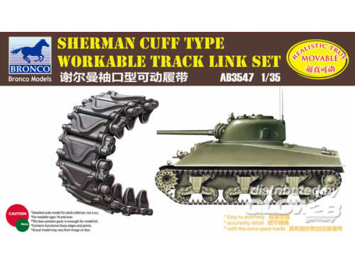 Bronco Sherman Cuff Type Workable Track LinkSet 1:35 (AB3547)