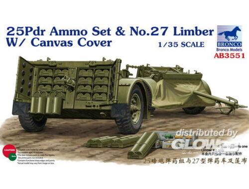 Bronco 25pdr Ammo set No.27 Limber w/CanvasCove 1:35 (AB3551)