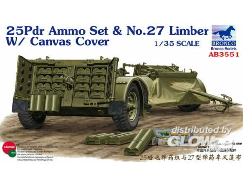 Bronco 25pdr Ammo set No.27 Limber w/CanvasCove 1:35 (AB3551)