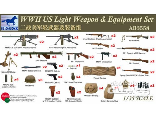 Bronco WWII US Light Weapon   Equipment Set 1:35 (AB3558)