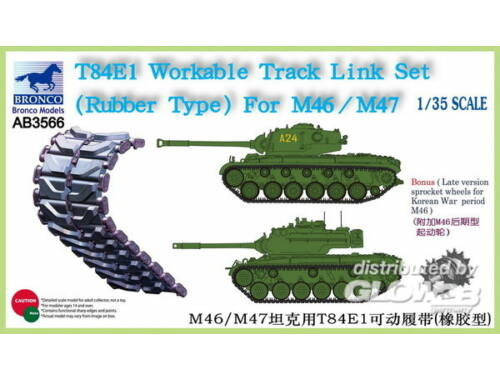 Bronco T-84E1 Workable Track Link Set(RubberTyp for M46/M47 1:35 (AB3566)