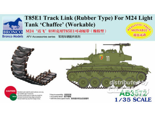 Bronco T85E1 Track Link (Rubber Type) For M24 Light Tank Chaffee (Workable 1:35 (AB3572)