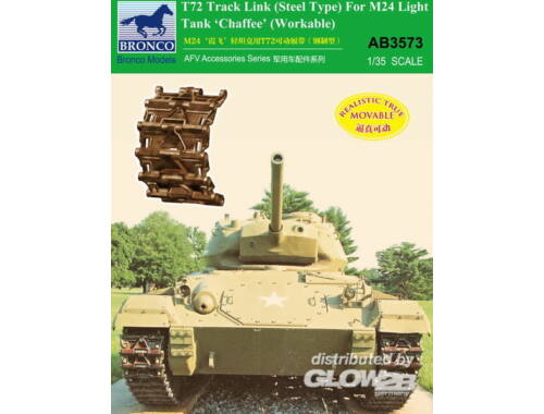 Bronco T-72 Track Link(Steel Type)for M24 Light Tank Chaffee (Workable 1:35 (AB3573)