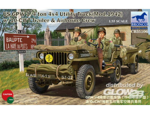 Bronco GPW 1/4 ton 4x4 Utility Track Mod.1942 w/10-CWT   Airborne Crew 1:35 (CB35106)