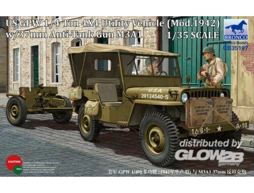 Bronco US GPW 4x4 Light Utility Truck w/37mm Anti-Tank Gun M3A1 1:35 (CB35107)