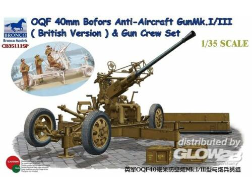 Bronco OQF Bofors 40mm Anti-Aircraft Gun Mk. Mk.I/III (British Army) Gun Crew Set 1:35 (CB35111SP)